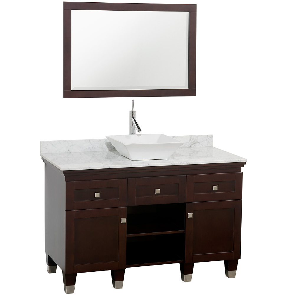 Shown With Carrera White Marble Top And White Porcelain Sink