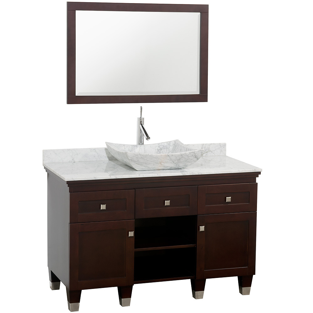 Shown With Carrera White Marble Top And Carrera White Marble Sink