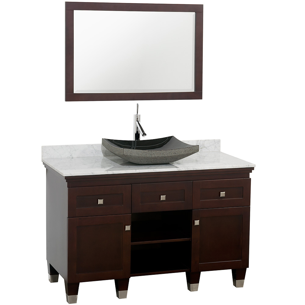 Shown With Carrera White Marble Top And Black Granite Sink
