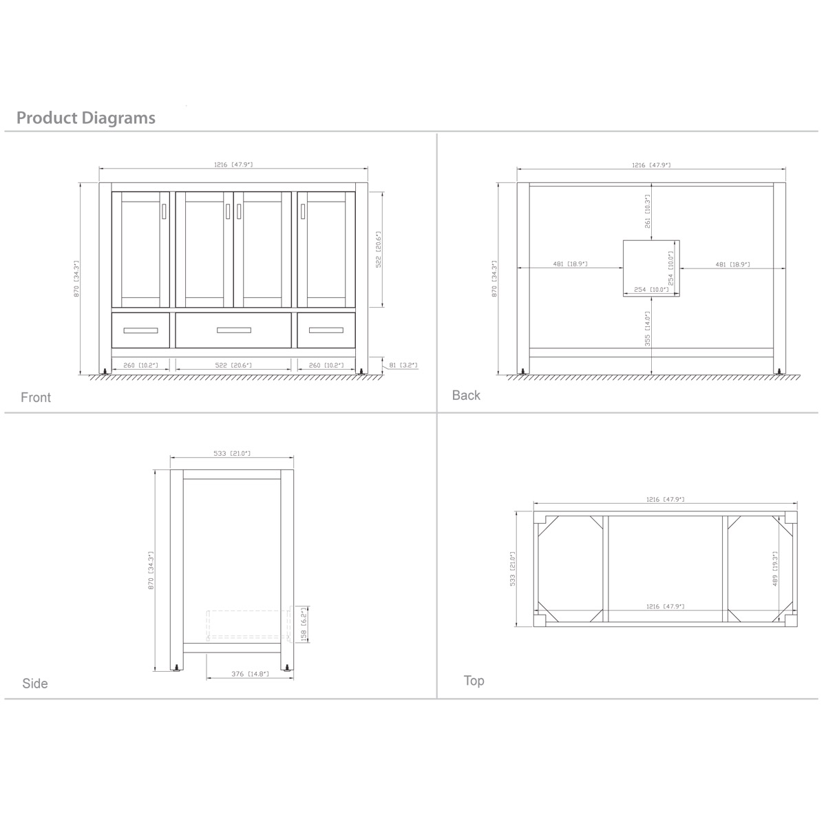 "48"" Toscana Vanity in White - Dimensions"