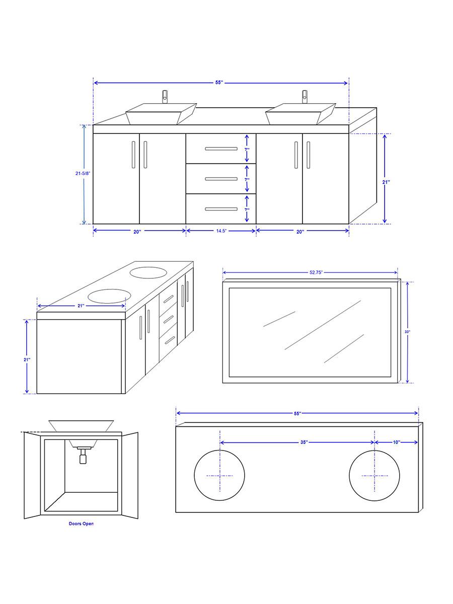 """55"""" Arrano Double Bath Vanity - Dimensions"""