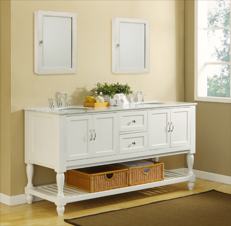 White Carrera Marble Top with Optional Medicine Cabinet