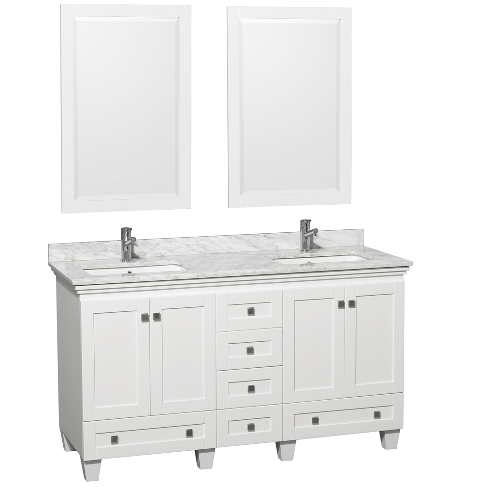 Shown with Carrera White Marble Top and Mirrors