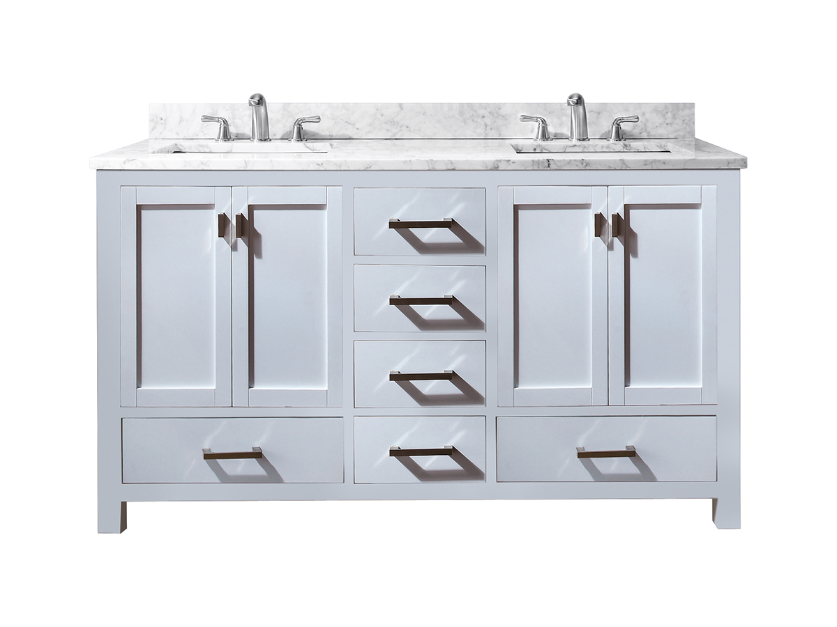 "60"" Toscana Double Vanity - with Carrera White Marble top"