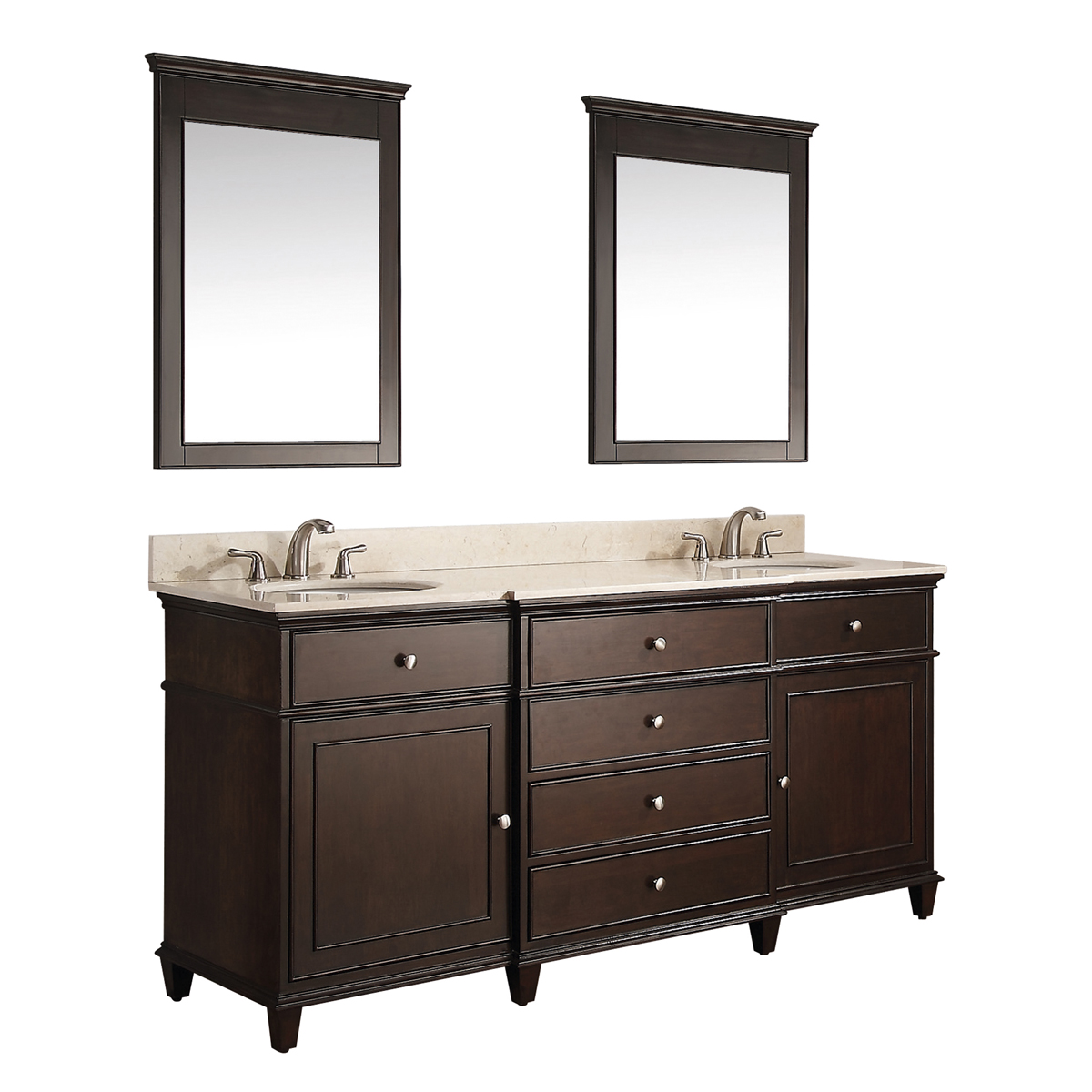 "61"" Cesarina Double Vanity in Walnut - Shown with optional mirrors"