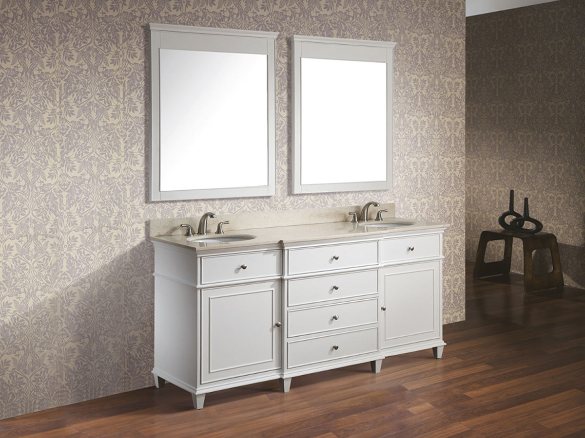 "61"" Cesarina Double Vanity in White - With optional mirrors"