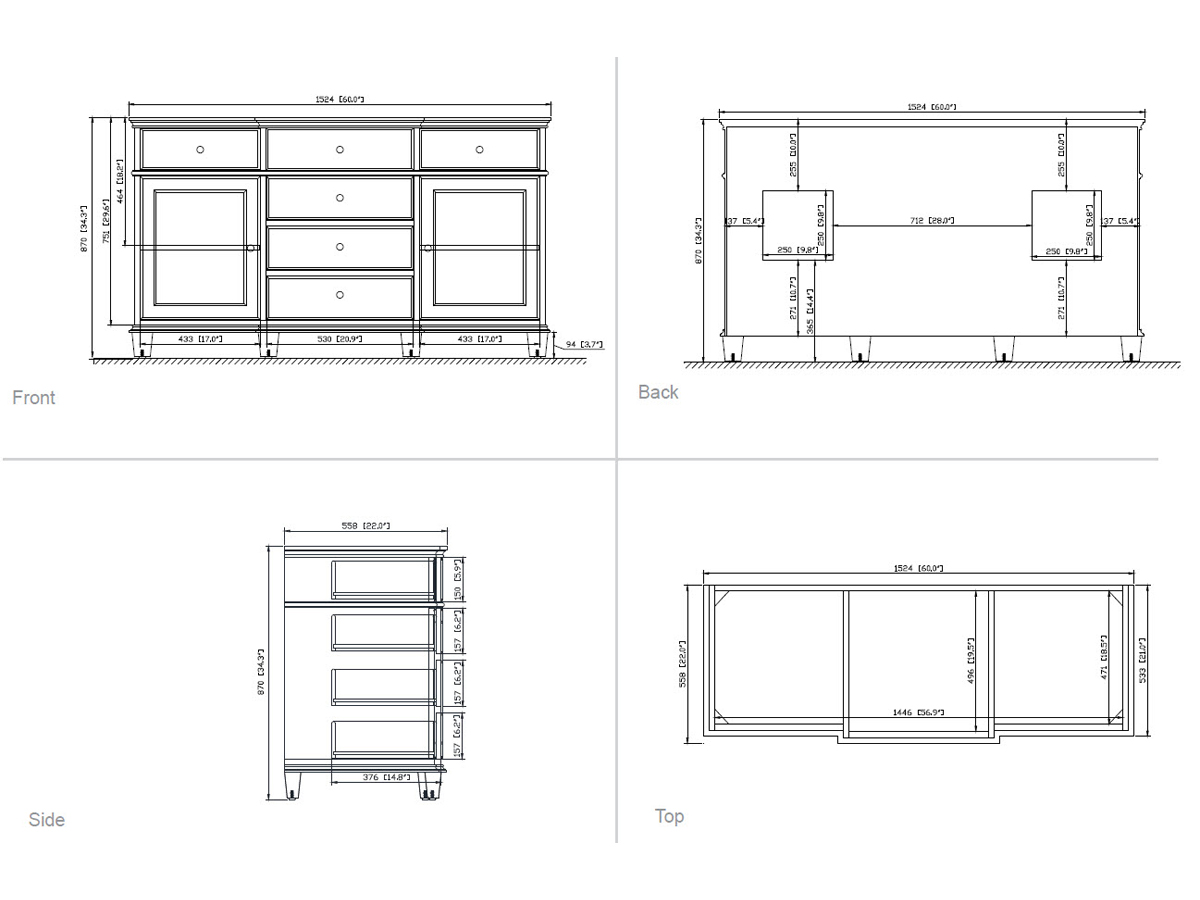 "61"" Cesarina Double Vanity in White - Dimensions"