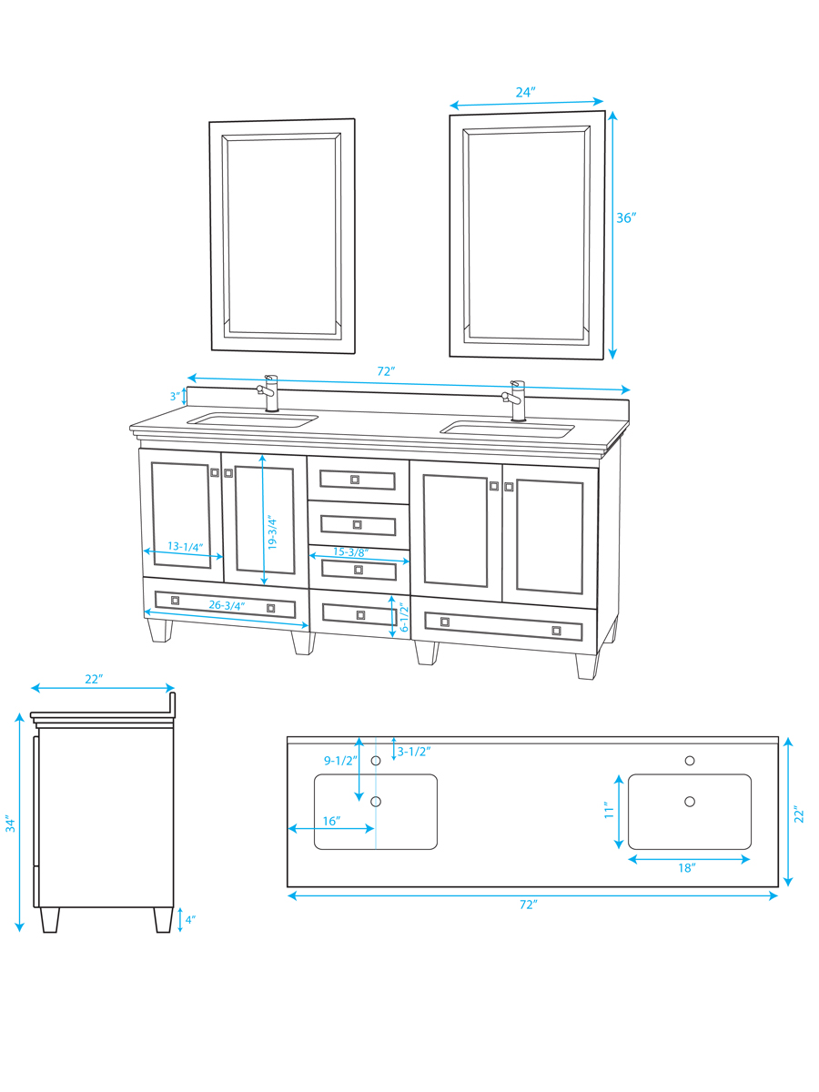 "72"" Acclaim Double Vanity - Dimensions"