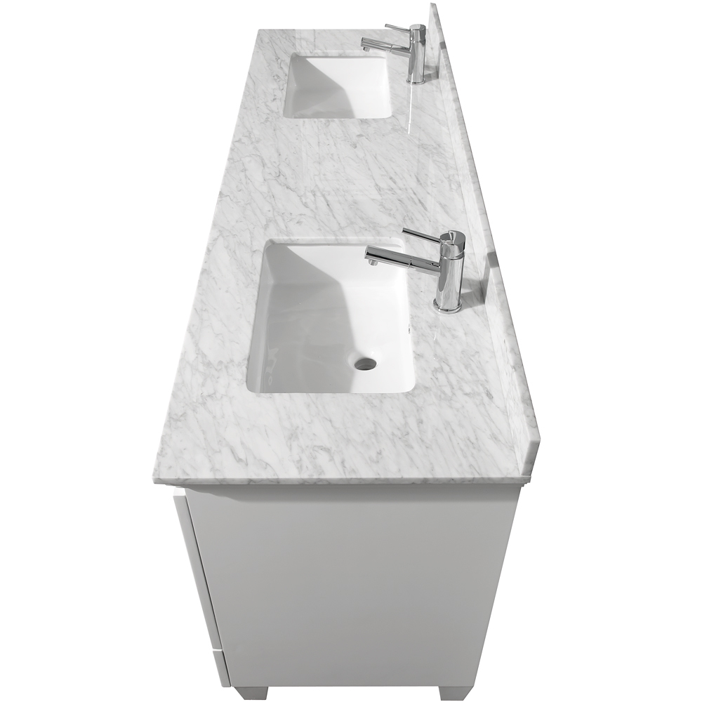 Carrera White Marble Top With Rectangular Cut Porcelain Sinks