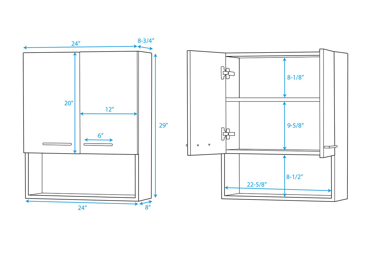 Zentra Wall Cabinet -Dimensions