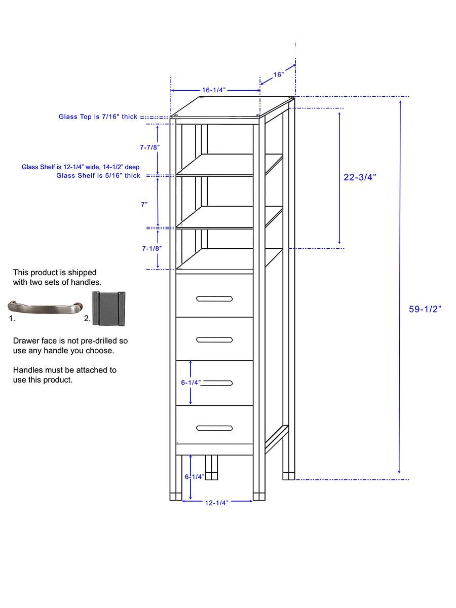 Tavello Floor Cabinet - Dimensions