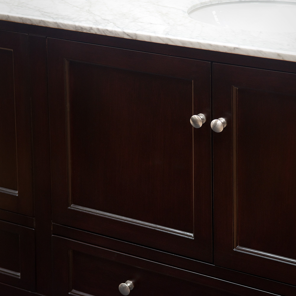 Brushed Chrome Hardware with Espresso Cabinet