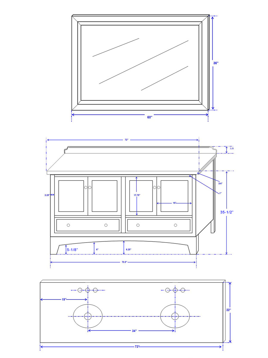 "72.25"" Audrey Double Vanity - Dimensions"