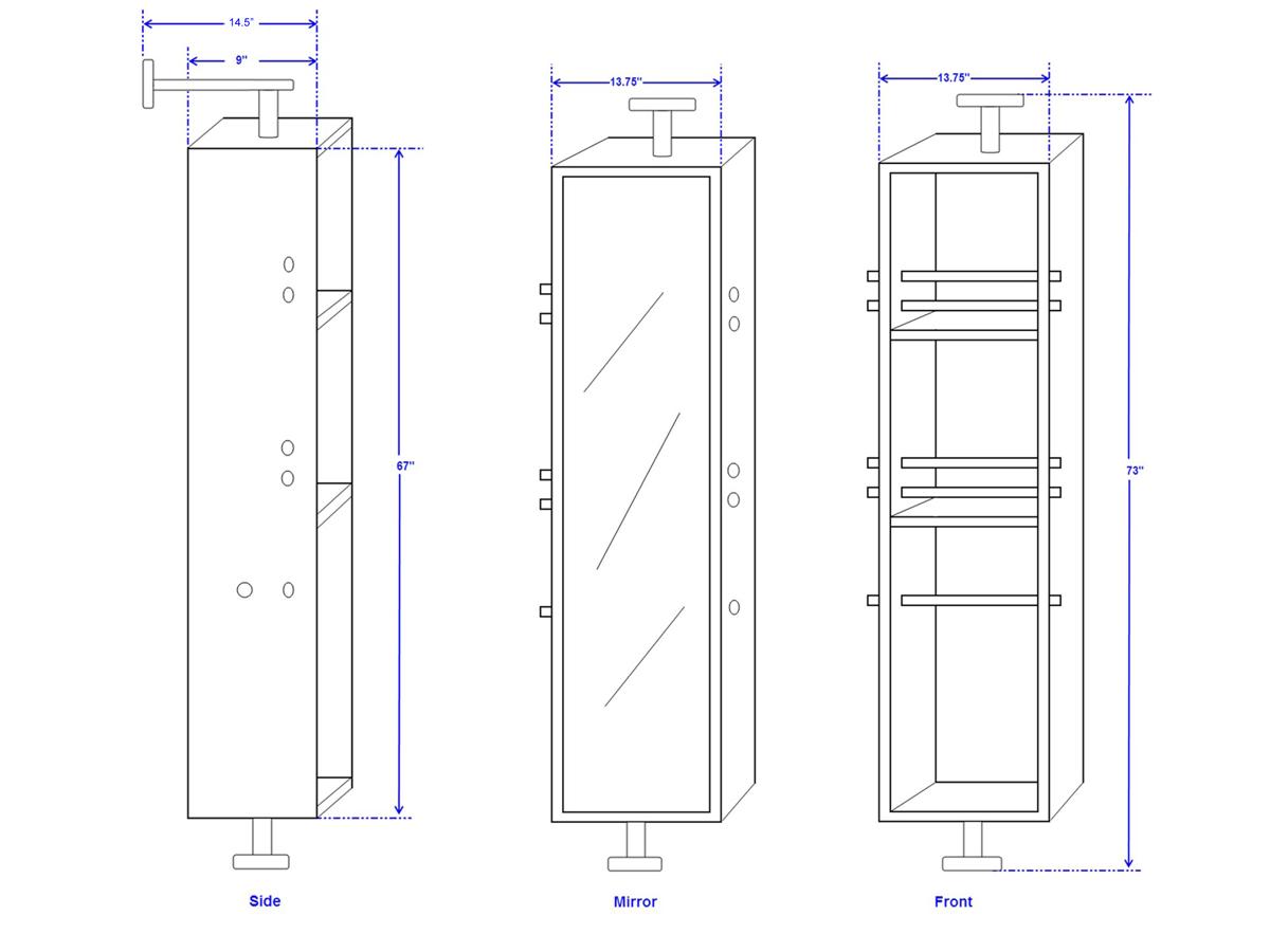 """72"""" Avara Double Vessel Sink Vanity - Dimensions"""