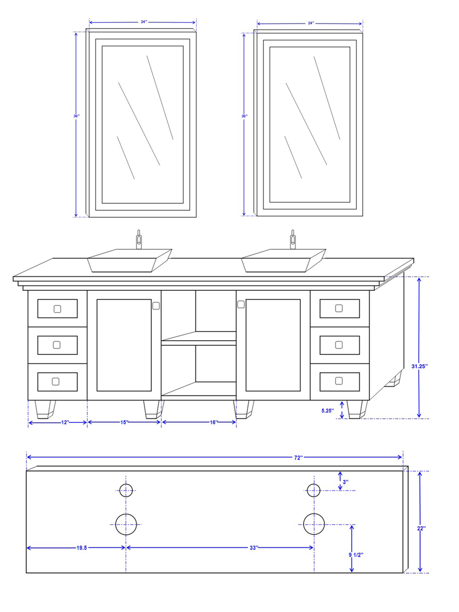 "72"" Premiere Double Sink Vanity - Dimensions"