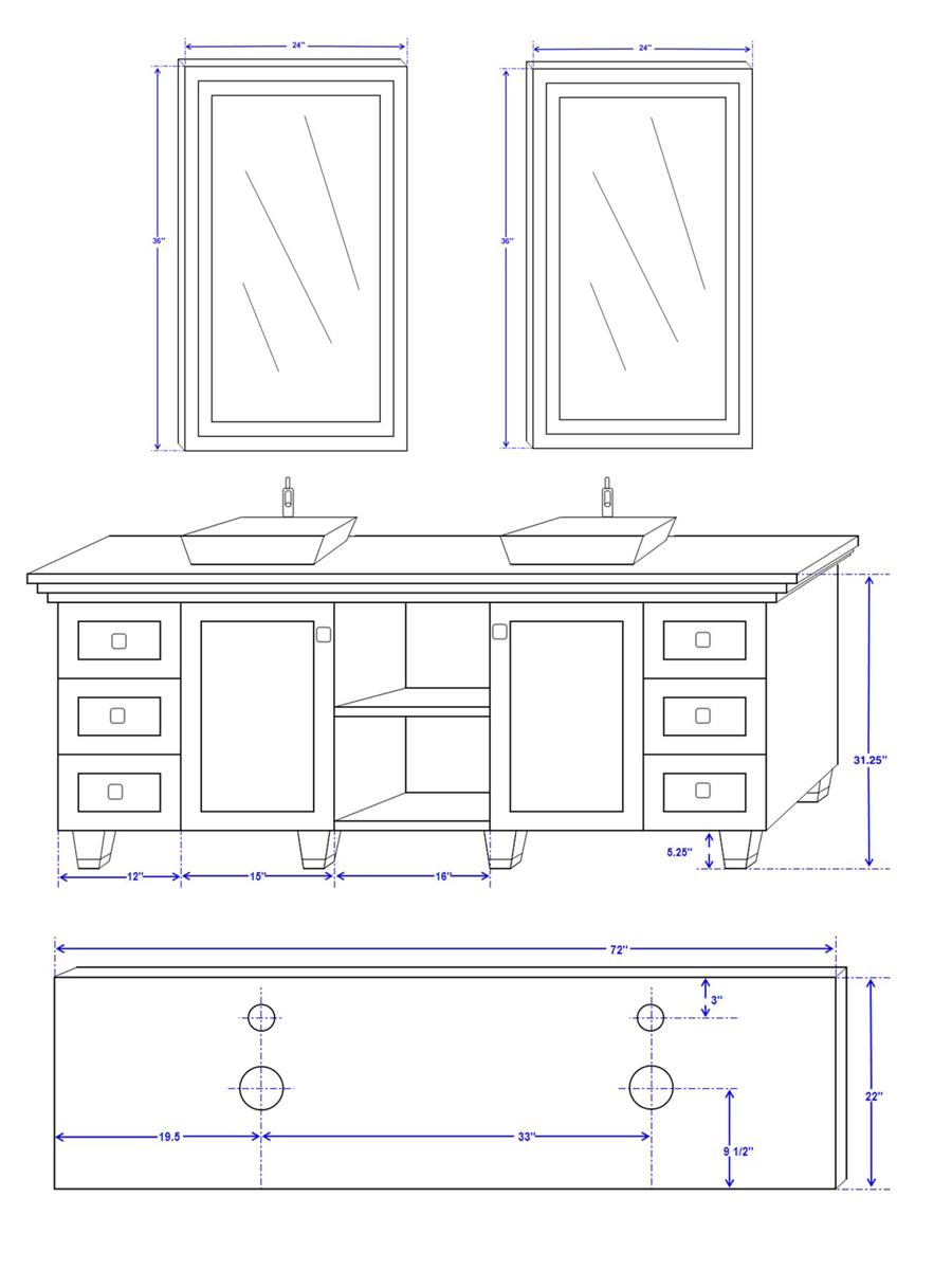 "72"" Premiere Double Sink Vanity - Dimensions"