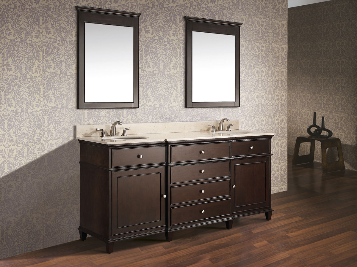 "73"" Cesarina Double Vanity in Walnut - Shown with optional mirrors"