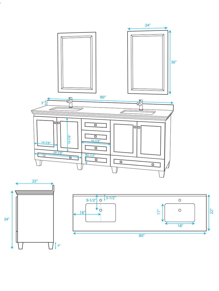 "80"" Acclaim Double Vanity - Dimensions"