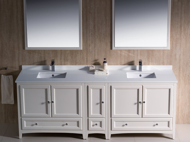 double sink vanity white. Features 2 double door cabinets 84  Oxford Double Sink Vanity White Bathgems com