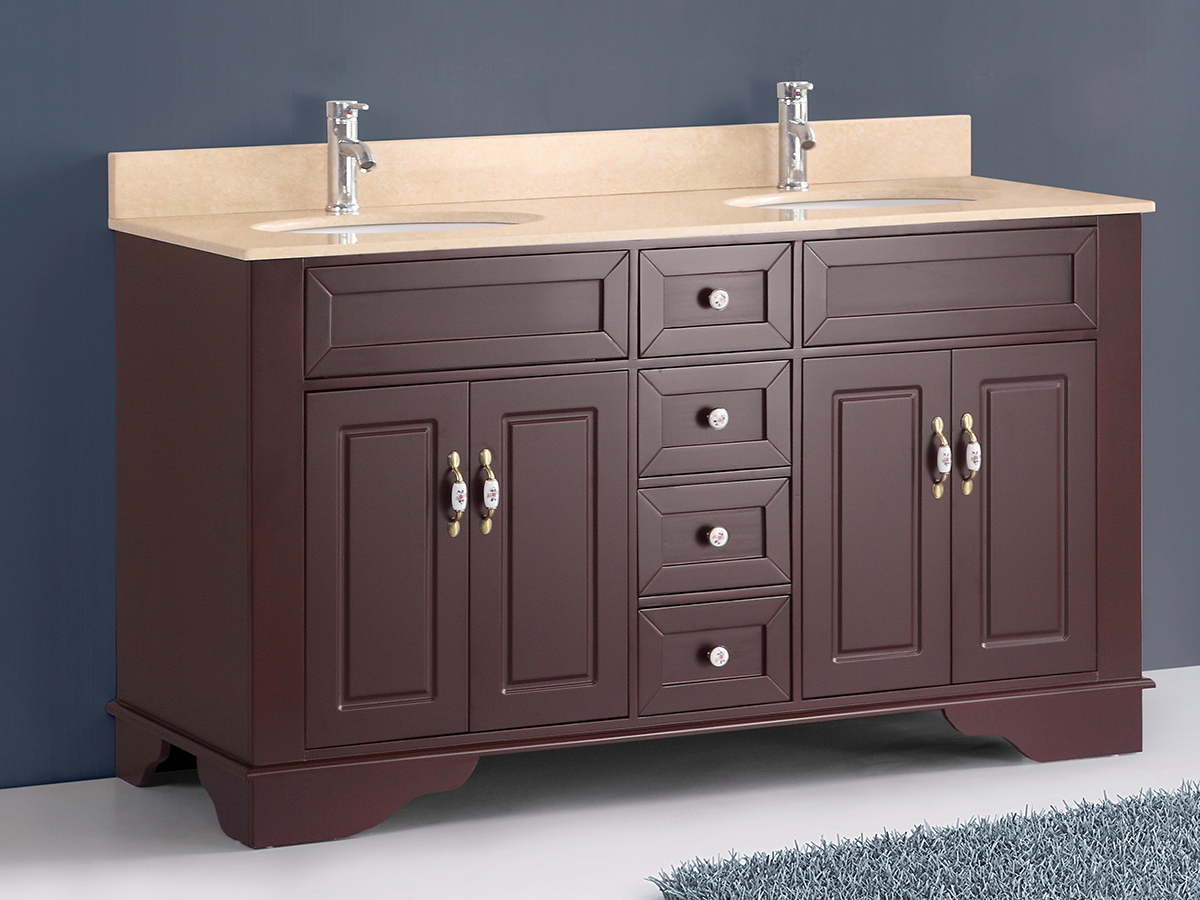 "59"" Littleton Double Sink Vanity shown with Crema Top"