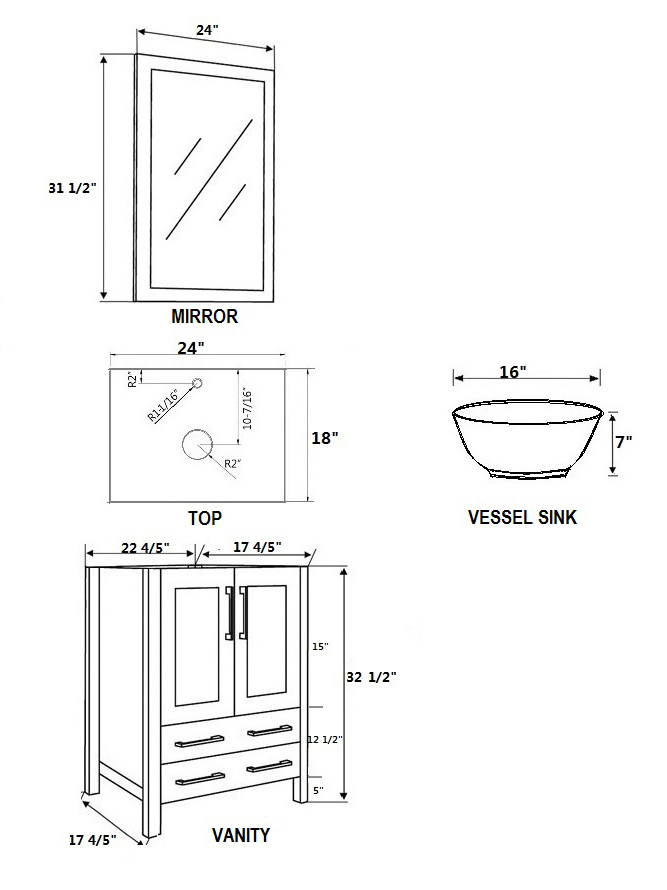 Dimensional view for Round Sink