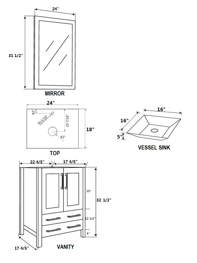 Dimensional view for Angled Sink