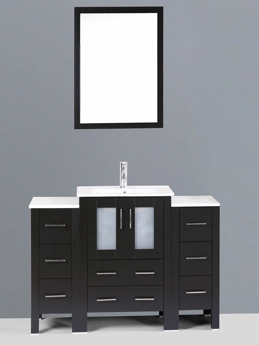 Alpert Single Vanity with Undermount Sink & 2 Side Cabinets