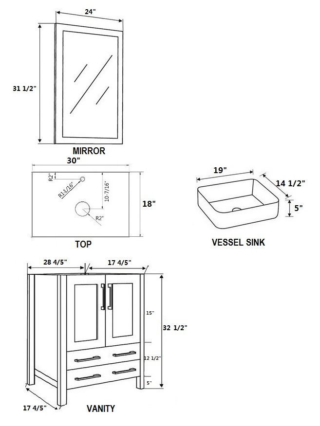 Dimensional view for Square Sink