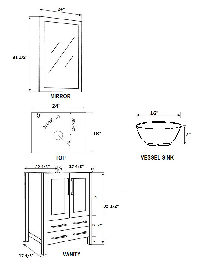 Dimensional View for Round Sinks