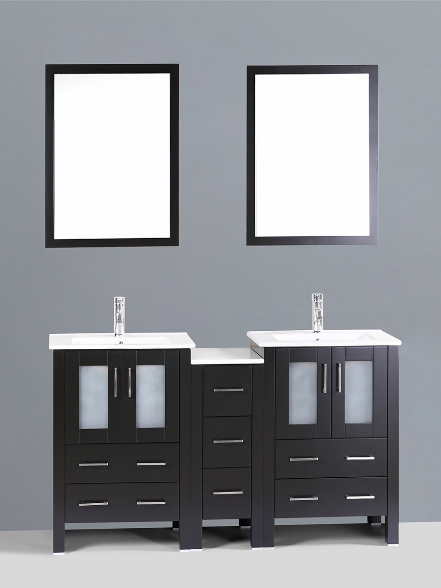 Dawson Double Vanity with Undermount Sinks & 1 Side Cabinet