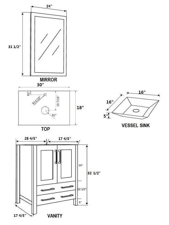 Dimensional View for Angled Sinks
