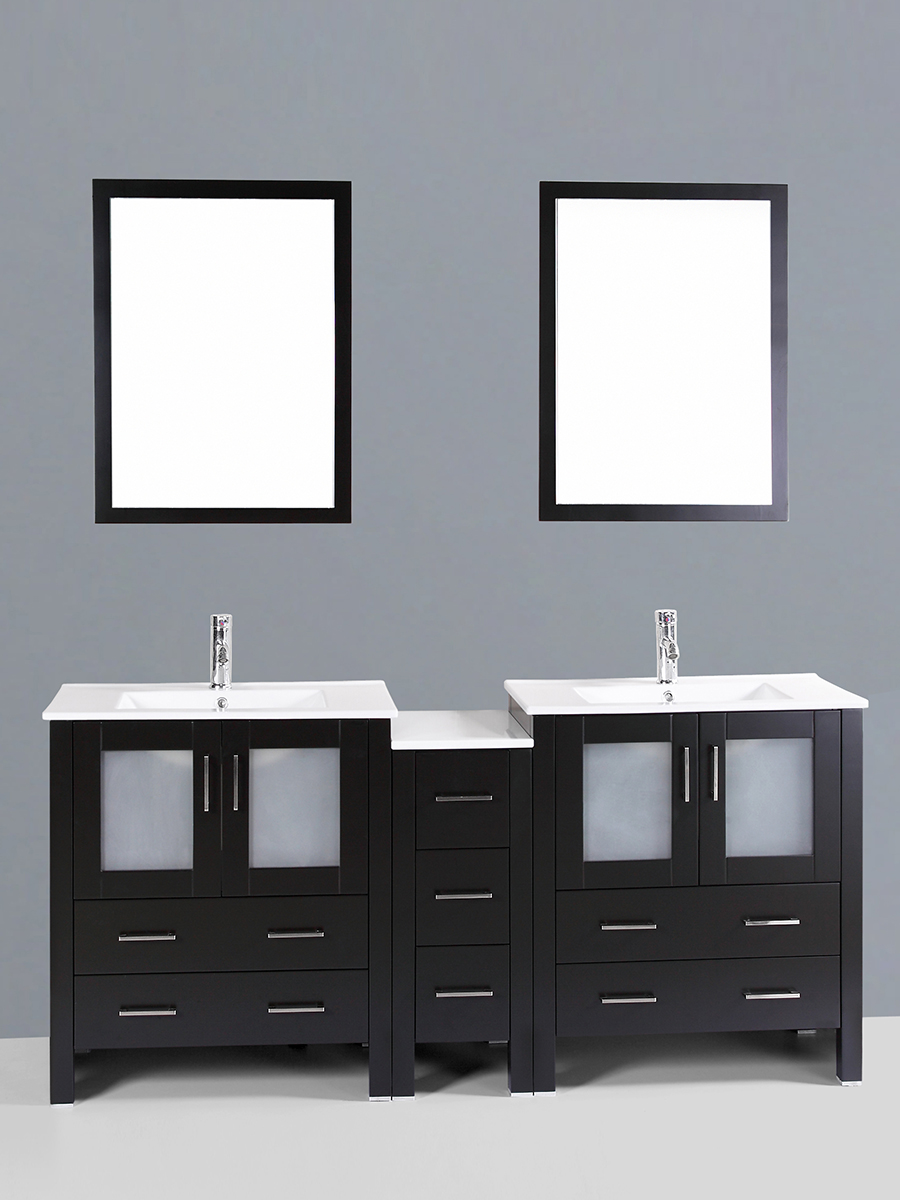Carlyle Double Vanity with Undermount Sinks & 1 Side Cabinet