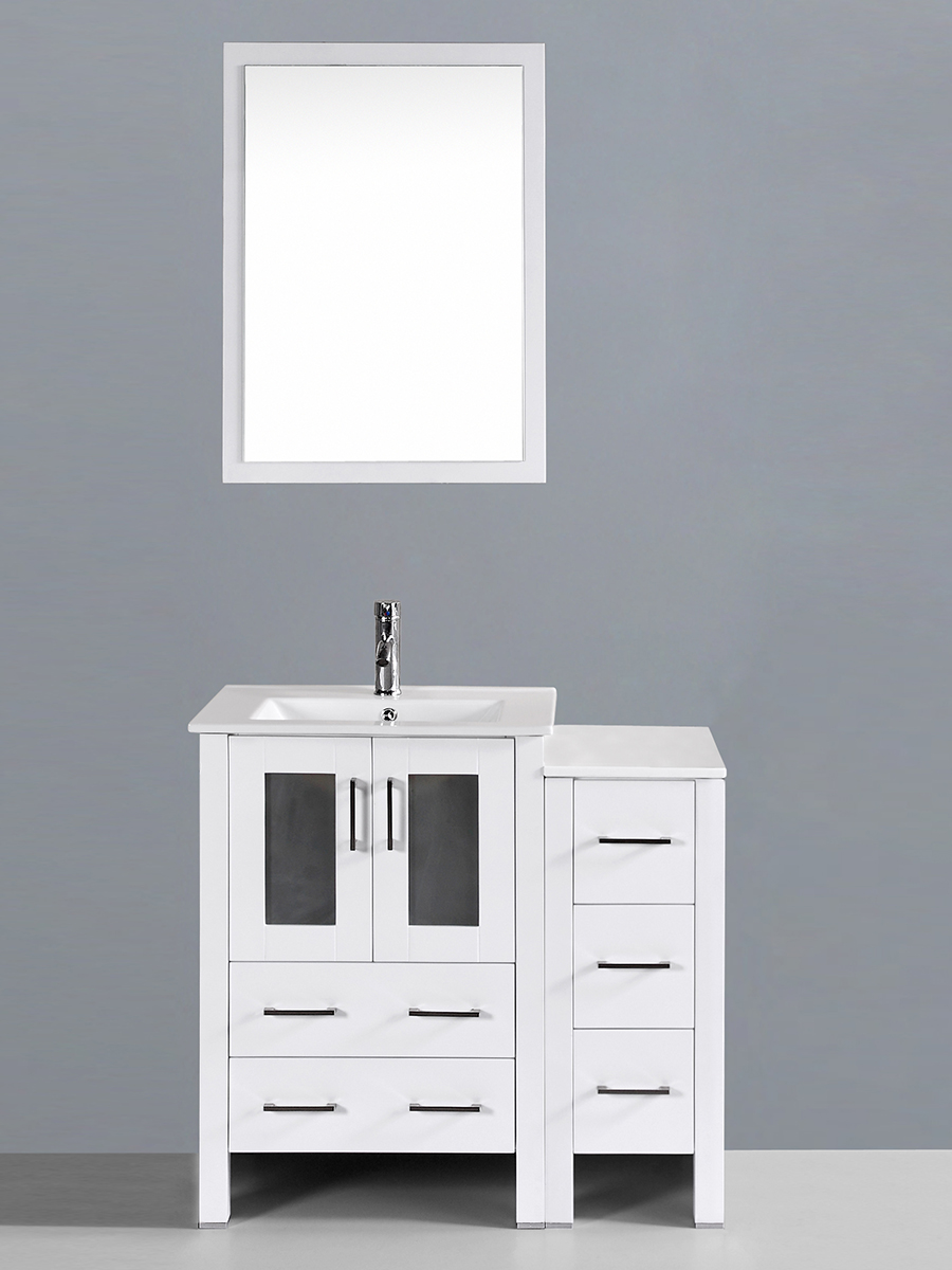 Aria Single Vanity with Undermount Sink & 1 Side Cabinet