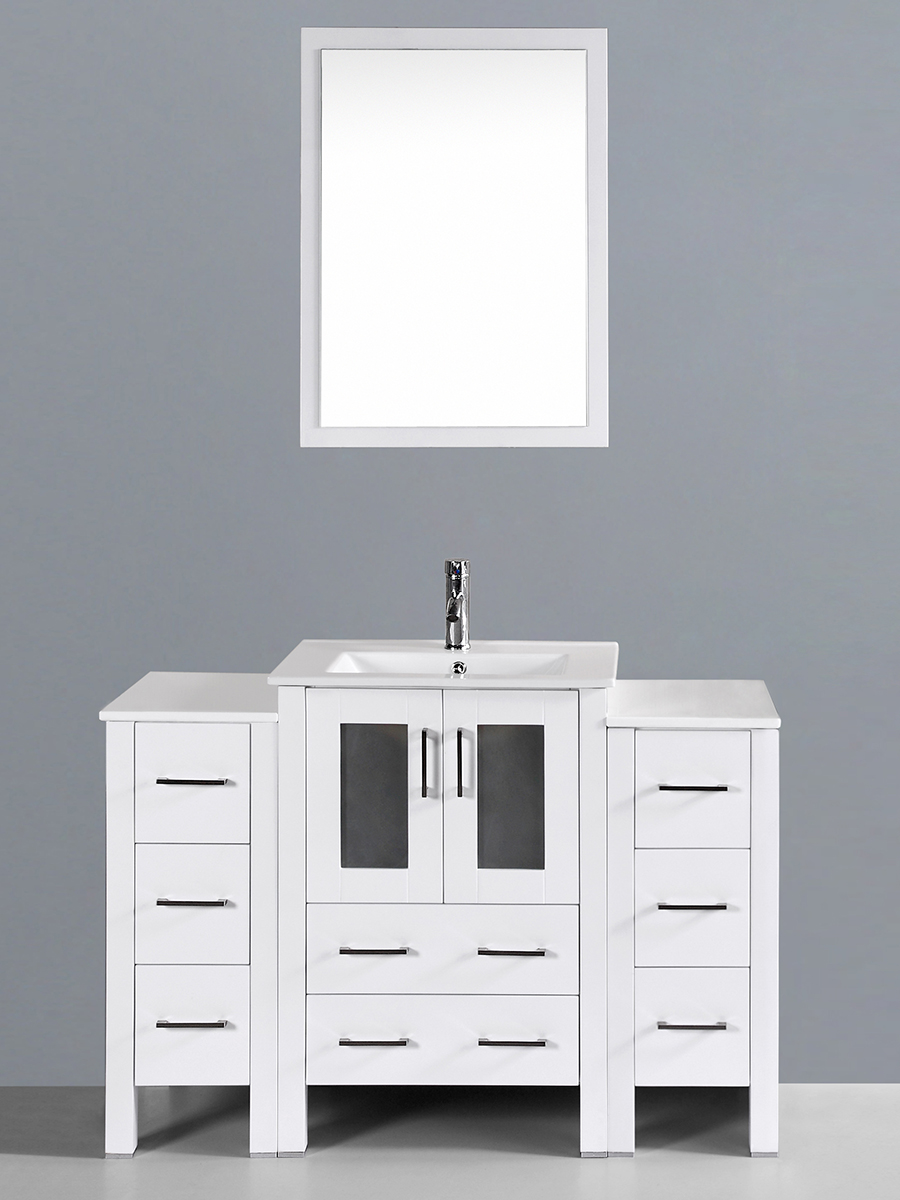 Aria Single Vanity with Undermount Sink & 2 Side Cabinets