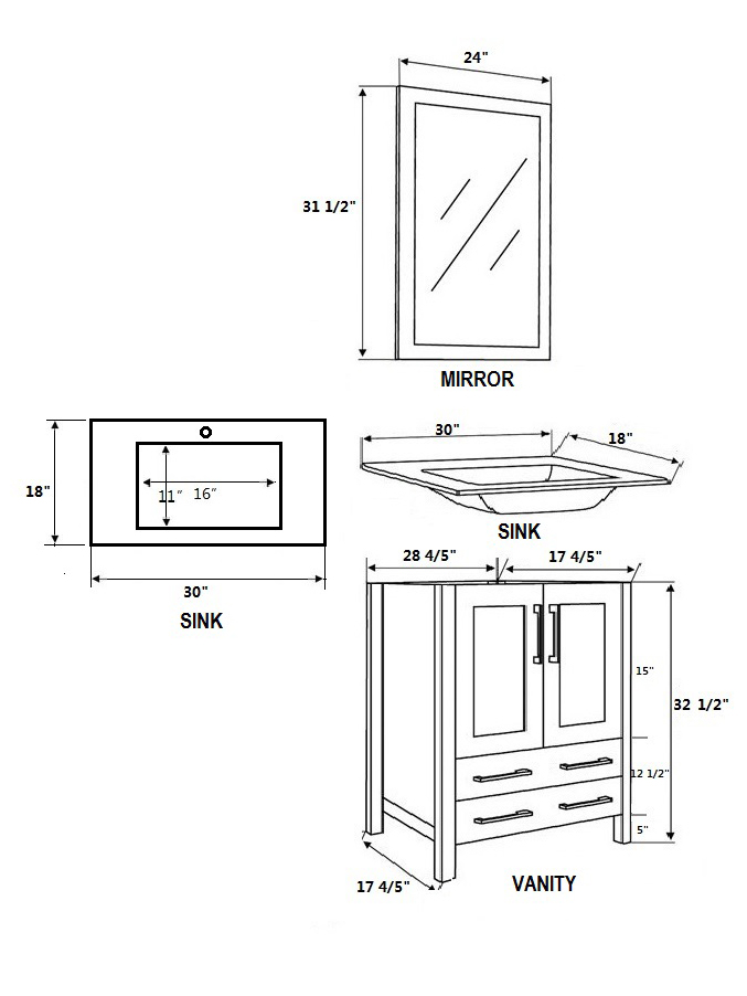 Dimensional view for Undermount Sink