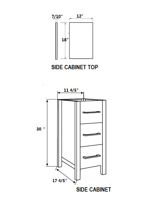 Dimensional view for Side Cabinets