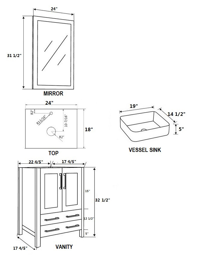 Dimensional view for Square Sinks