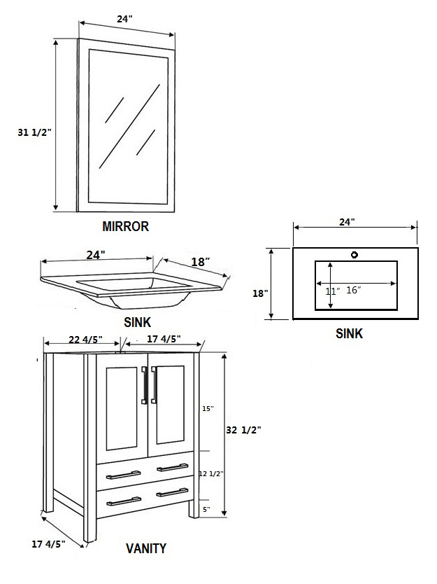 Dimensional view for Undermount Sinks