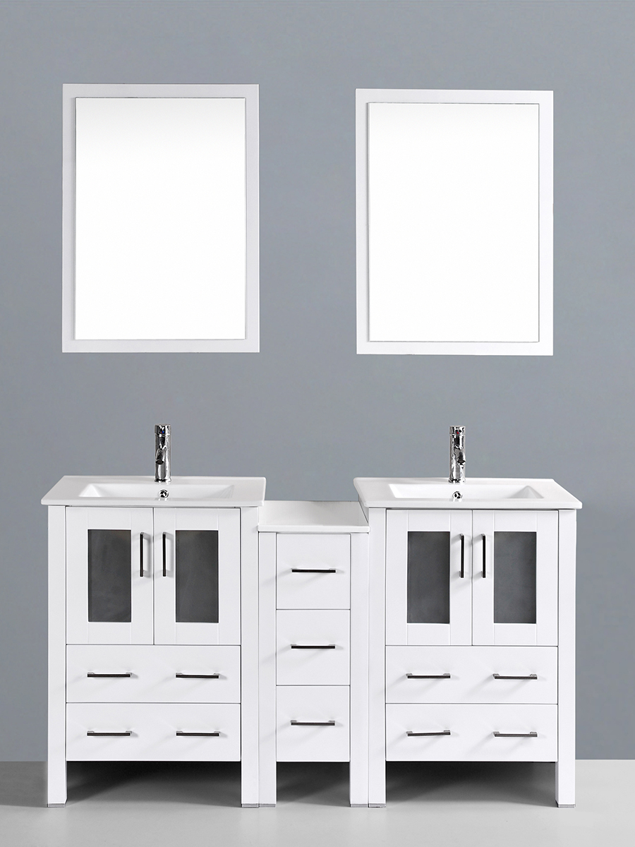 Fields Vanity with Undermount Sinks & 1 Side Cabinet