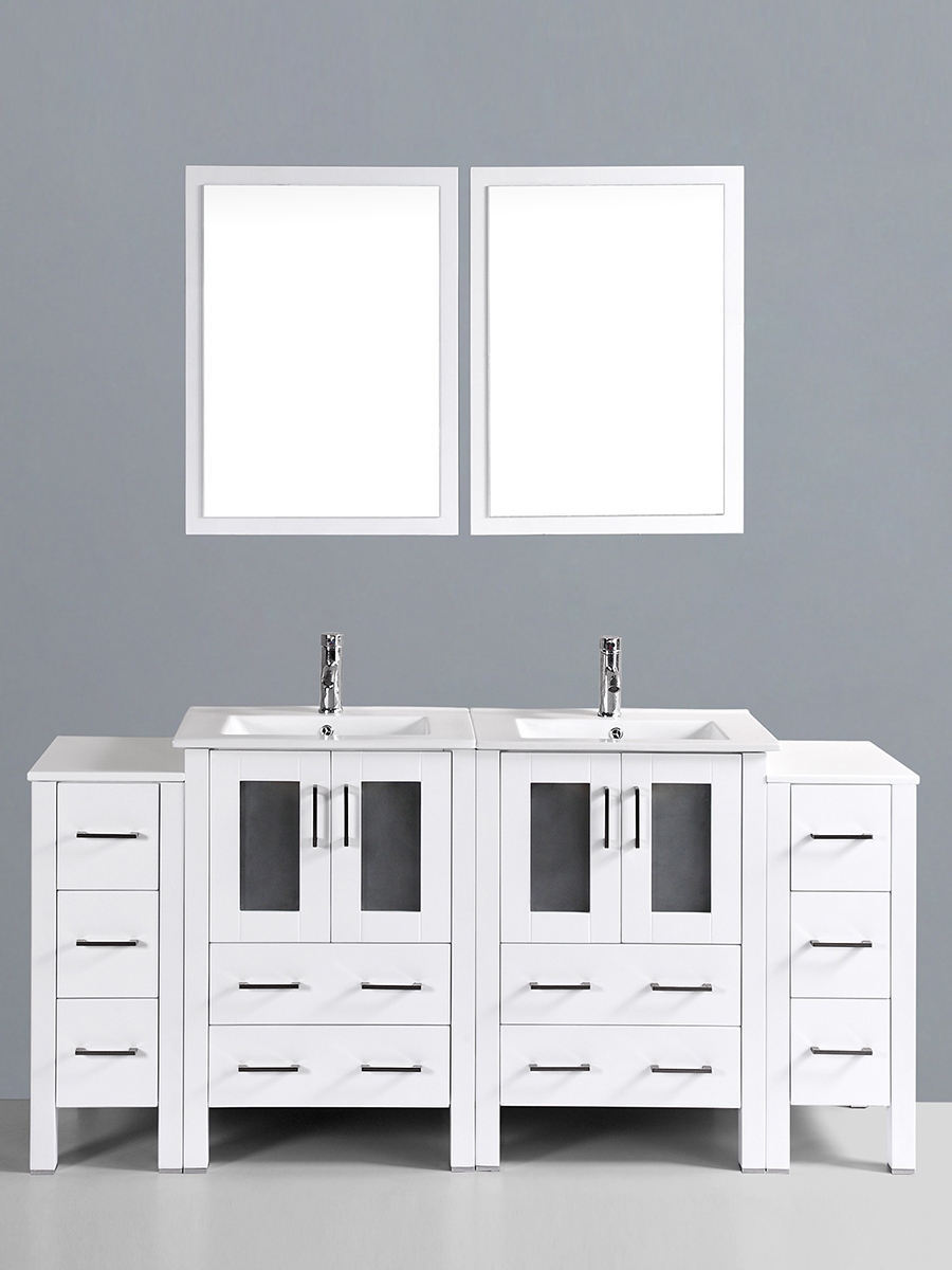 Fields Vanity with Undermount Sinks & 2 Side Cabinets