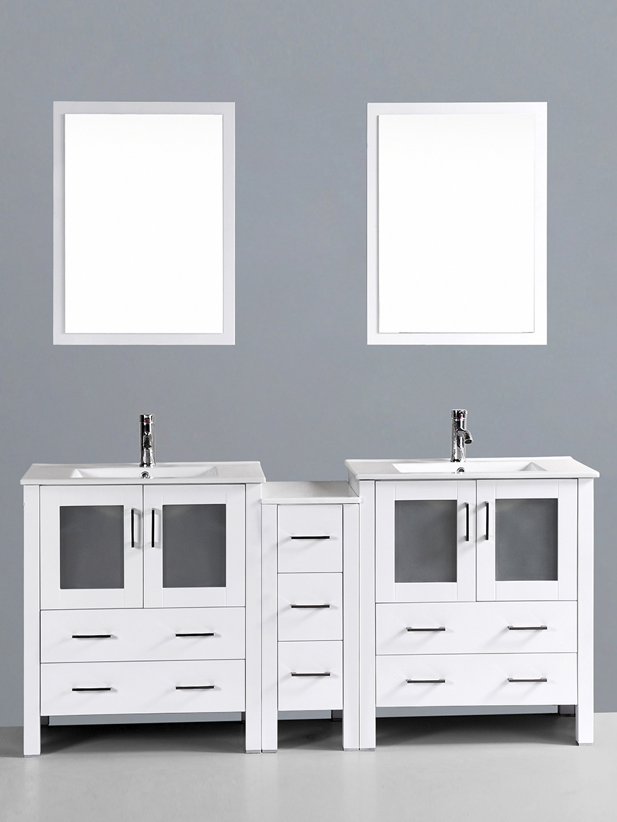 Hanna Vanity with Undermount Sinks & 1 Side Cabinet