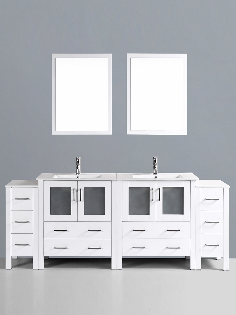 Hanna Vanity with Undermount Sinks & 2 Side Cabinets
