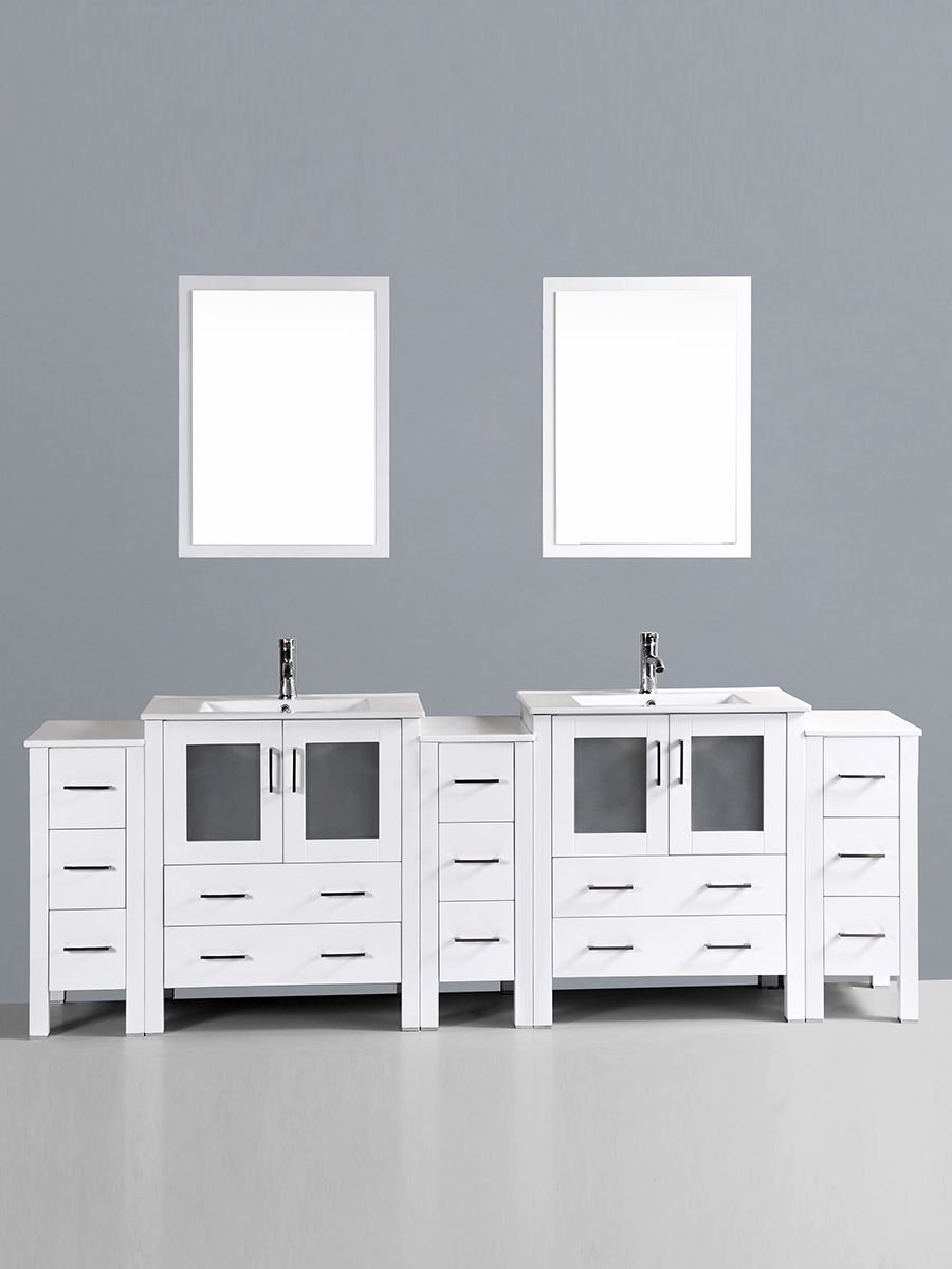 Hanna Vanity with Undermount Sinks & 3 Side Cabinets