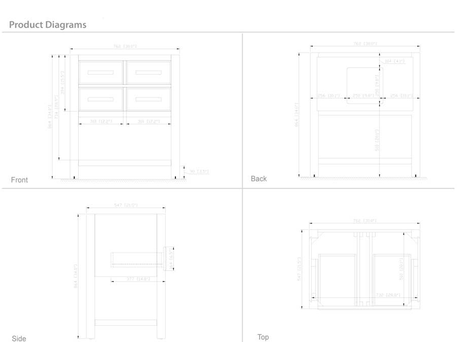 "31"" Begonia Single Bath Vanity - White - Dimensions"