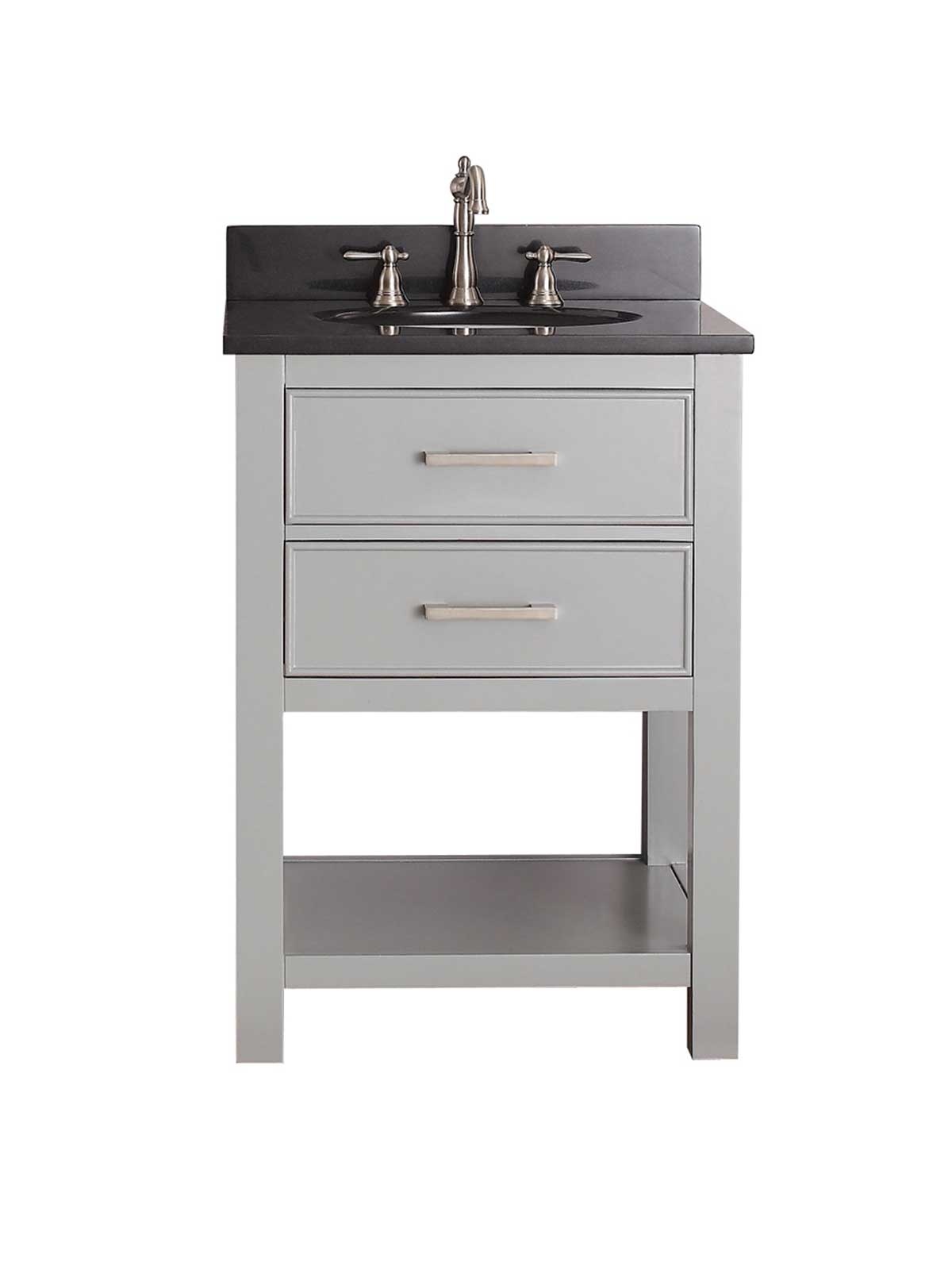 "25"" Begonia Single Bath Vanity - Chilled Gray with Black Granite Top"
