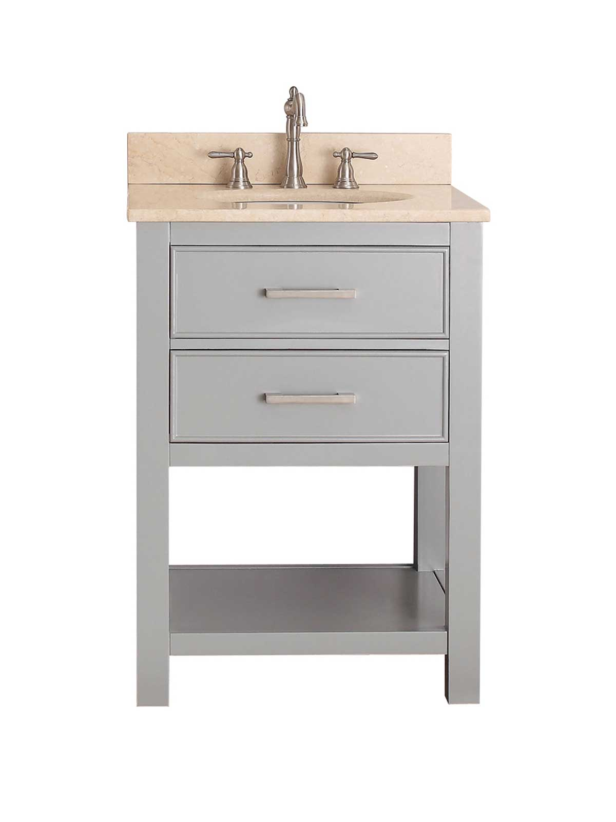 "25"" Begonia Single Bath Vanity - Chilled Gray with Galala Beige Marble Top"