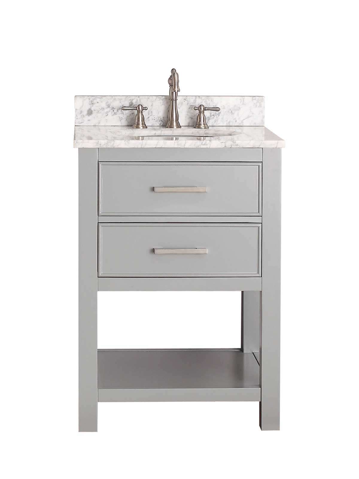 "25"" Begonia Single Bath Vanity - Chilled Gray with Carrara White Marble Top"