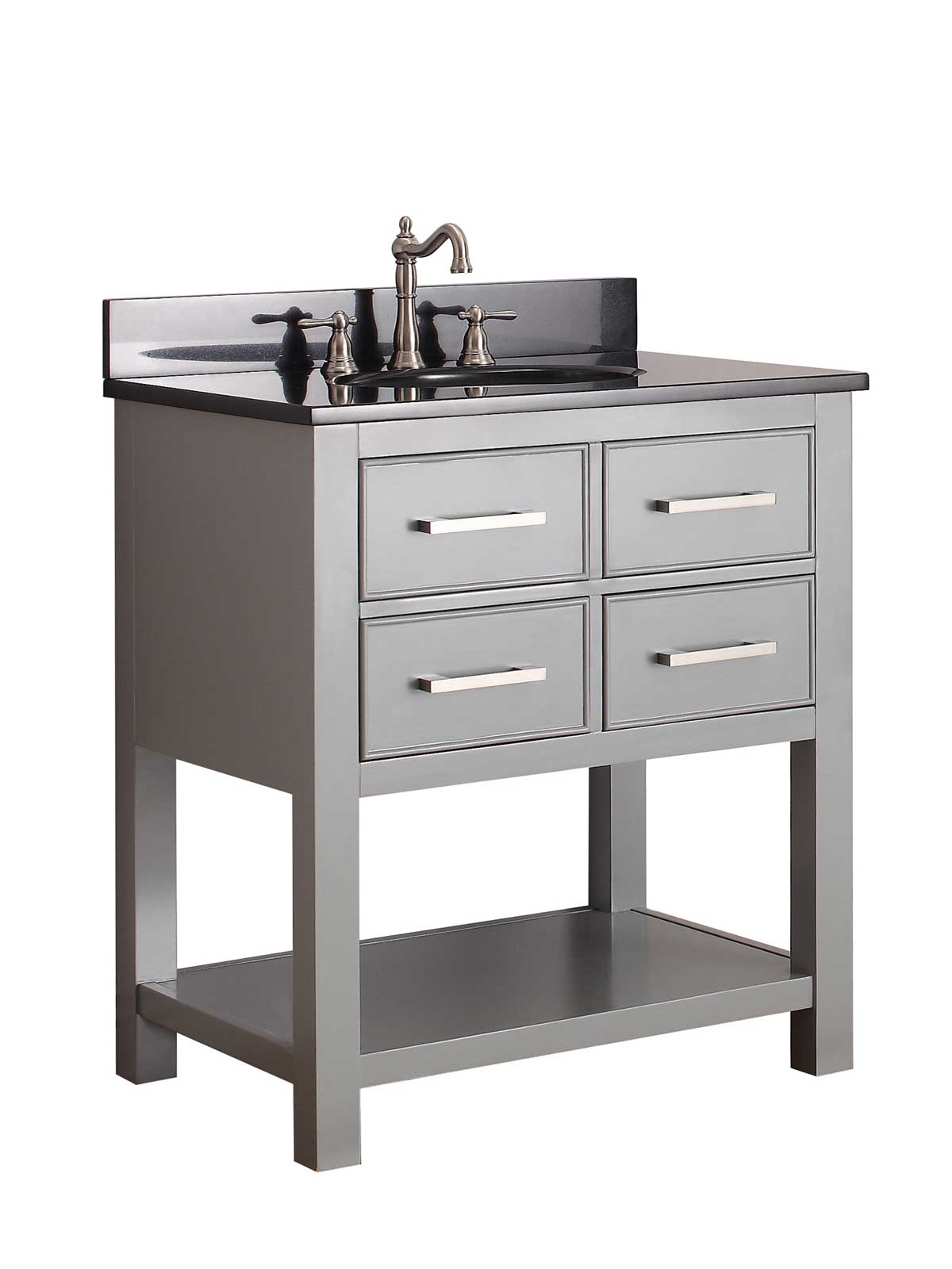 "31 "" Begonia Single Bath Vanity - Chilled Gray - Chilled Gray with Black Granite Top"