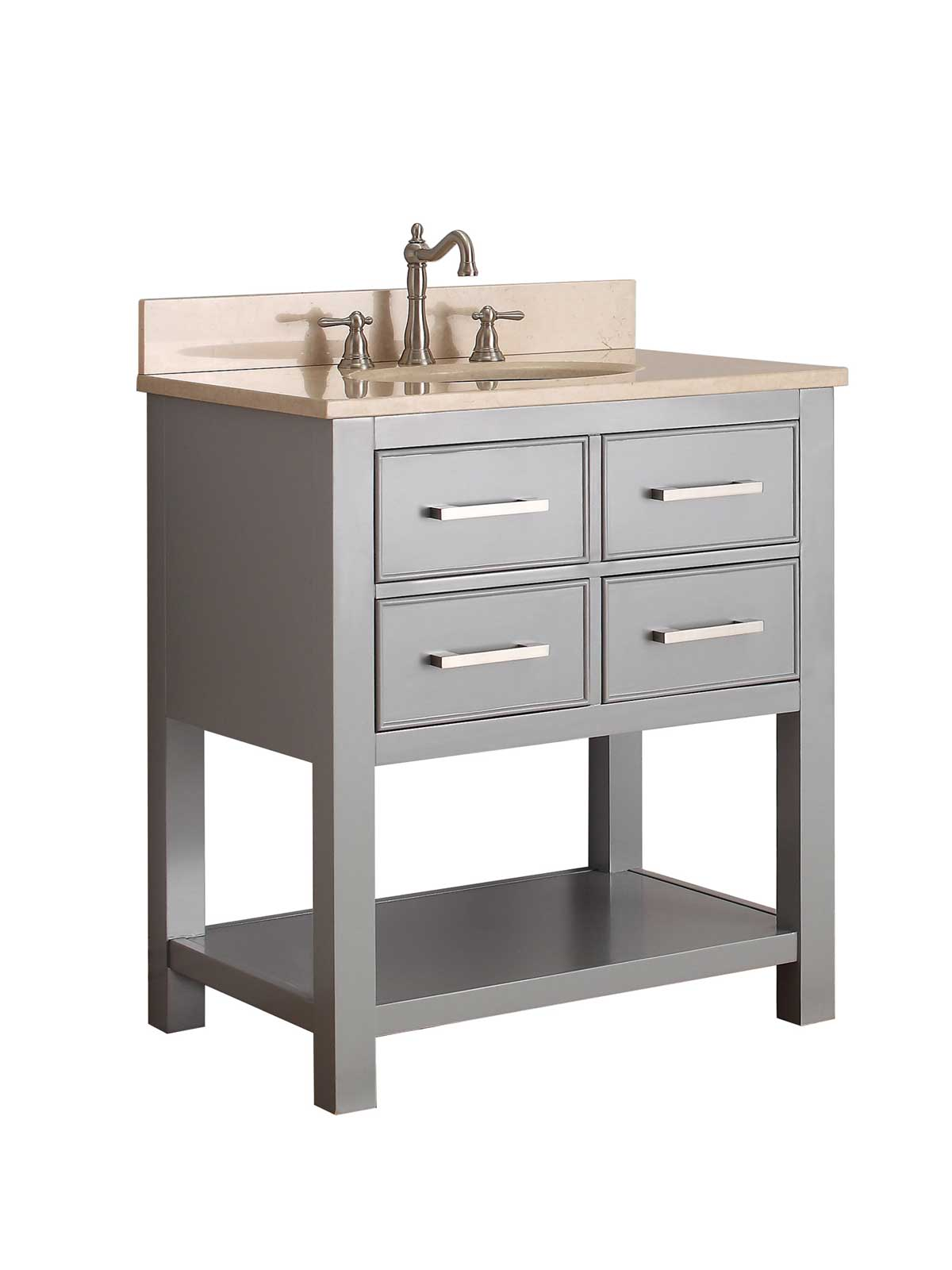 "31"" Begonia Single Bath Vanity - Chilled Gray - Chilled Gray with Galala Beige Marble Top"