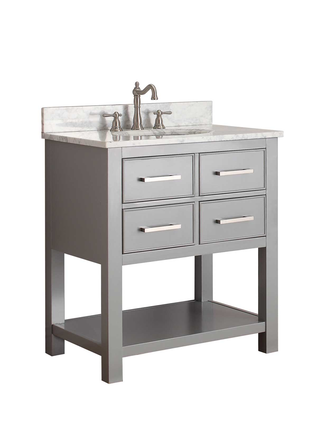 "31"" Begonia Single Bath Vanity - Chilled Gray - Chilled Gray with Carrara Chilled Gray Marble Top"